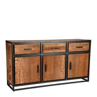 Industry Sideboard aus Mangobaum Massivholz geölt und Metall 170 cm breit