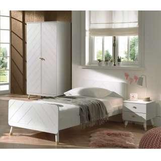 Jugendzimmer Set in Weiß und Goldfarben Mädchen (dreiteilig)