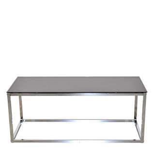 Wohnzimmer Tisch verchromt Schwarzglas Platte