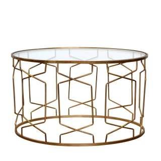 Design Couchtisch mit ovaler Tischplatte Gestell Goldfarben