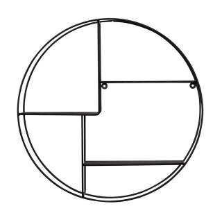 Rundes Metallregal zur Wandmontage Schwarz