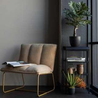 Bügelgestell Sessel in Beige Goldfarben