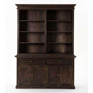 Landhaus Bücherschrank in Holz Black Wash 220 cm hoch