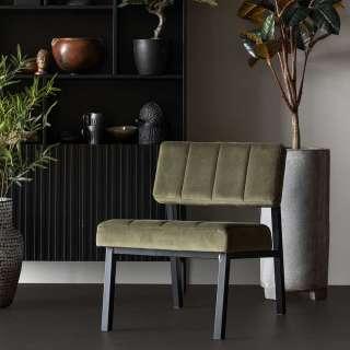 Wohnzimmer Einzelsessel in Oliv Grün Samt schwarzes Gestell