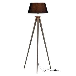 Skandi Stehlampe in Schwarz Stativgestell aus Holz