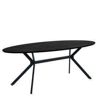 Ovaler Esstisch schwarz in modernem Design Metallgestell