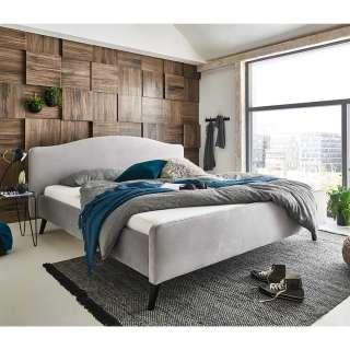 Modernes Polsterbett in Hellgrau Velours Vierfußgestell aus Holz