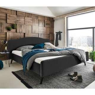 Gepolstertes Bett in Anthrazit Velours Vierfußgestell aus Holz