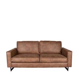 Zweisitzer Sofa in Cognac Braun Microfaser Metall Bügelgestell
