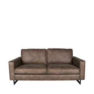 Lounge Sofa in Taupe Microfaser Armlehnen