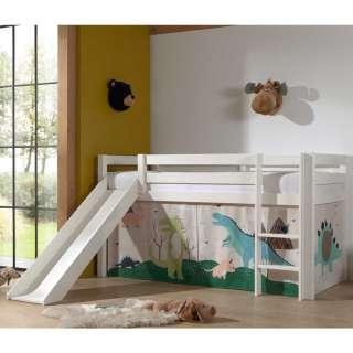 Halbhohes Rutschen Bett in Weiß Dinosaurier Motiv