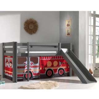 Graues Kinder Halbhochbett mit Rutsche Vorhang mit Feuerwehr Motiv