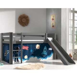 Kinderhochbett in Grau Vorhang mit Weltraum Motiv