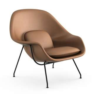 Knoll International - Saarinen Womb Sessel - Relax - Volo Tan - Polyesterfaser-Füllung - Gestell schwarz - indoor
