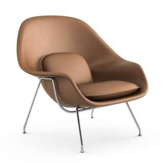 Knoll International - Saarinen Womb Sessel - Relax - Volo Tan - Polyesterfaser-Füllung - Gestell Chrom glänzend - indoor