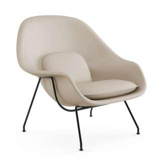 Knoll International - Saarinen Womb Sessel - Relax - Volo Parchment - Polyesterfaser-Füllung - Gestell schwarz - indoor
