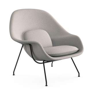 Knoll International - Saarinen Womb Sessel - Relax - Cato Sand - Polyesterfaser-Füllung - Gestell schwarz - indoor
