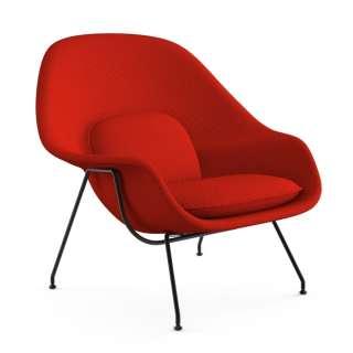 Knoll International - Saarinen Womb Sessel - Relax - Cato Fire Red - Polyesterfaser-Füllung - Gestell schwarz - indoor