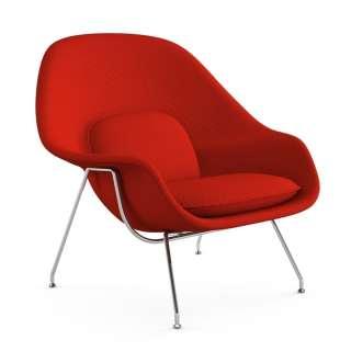 Knoll International - Saarinen Womb Sessel - Relax - Cato Fire Red - Polyesterfaser-Füllung - Gestell Chrom glänzend - indoor