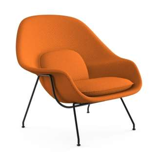 Knoll International - Saarinen Womb Sessel - Relax - Cato Orange  - Daunen-Füllung - Gestell schwarz - indoor