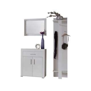 Garderobenmöbel Set in Weiß Spiegel (3-teilig)