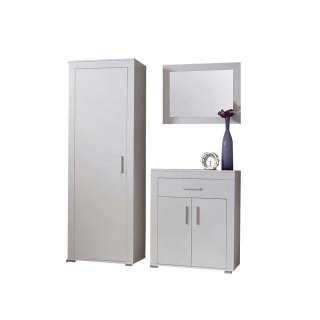 Garderobenmöbel Set in Weiß mit Spiegel (3-teilig)