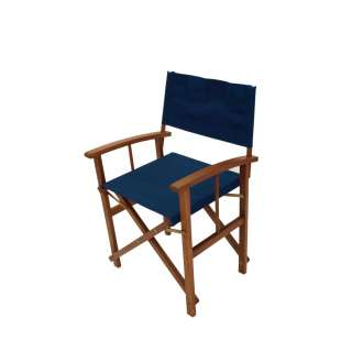Gartenstuhl in Blau Braun klappbar (2er Set)