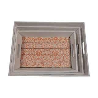 Tablett Set mit Pailsley Muster Griffe (3er Set)