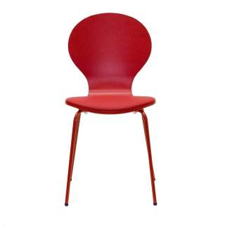 Besucherstuhl in Rot gepolstert (4er Set)