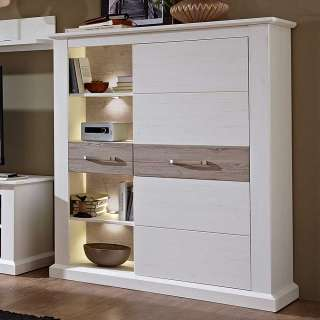 Wohnzimmer Highboard in Weiß Taupe LED Beleuchtung