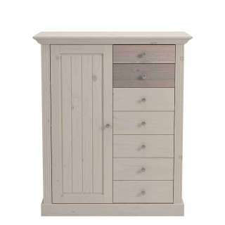 Highboard aus Kiefer massiv White Wash Braun Landhaus