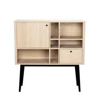 Wohnzimmer Highboard im Retro Design Eiche White Wash