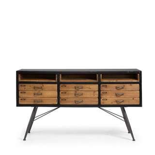 Schubladen Sideboard aus Tanne Massivholz Metall Loft Style