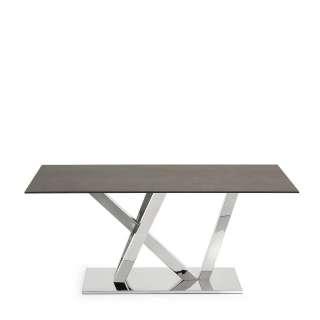 Design Esstisch aus Glas in Eisen Optik Edelstahl