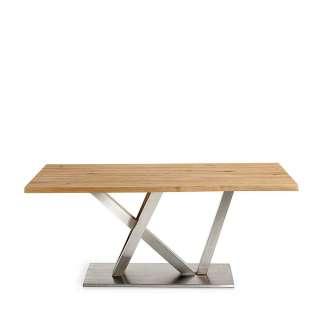 Baumkanten Esszimmertisch aus Eiche Massivholz Edelstahl
