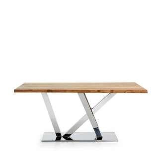 Tisch mit Baumkante Eiche massiv Edelstahl