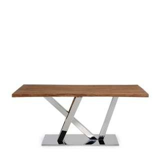 Baumkantentisch aus Eiche Massivholz Edelstahl