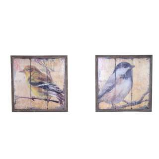 Bilder Set mit Vogel Motiv Holzrahmen (2-teilig)