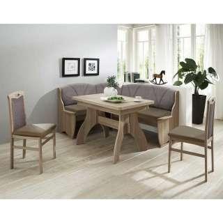 Esszimmer Sitzecke in Braun Grau Eckbank und ausziehbarem Tisch (4-teilig)