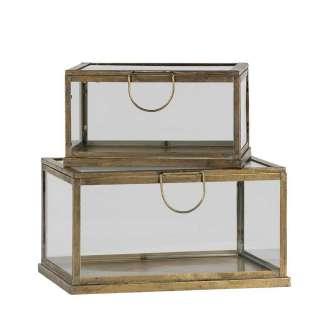 Kisten Set aus Glas und Metall Messingfarben (2-teilig)
