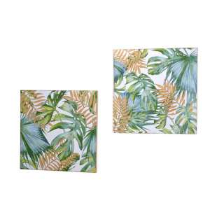 Wandbild Set im Dschungel Design Tanne Massivholz (2er Set)