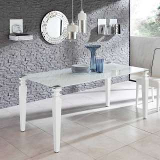 Glas Esstisch in Weiß 170 cm