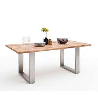 Baumkanten Tisch aus Zerreiche Massivholz Edelstahl