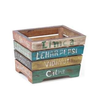 Shabby Chic Kiste in Bunt Mangobaum Massivholz