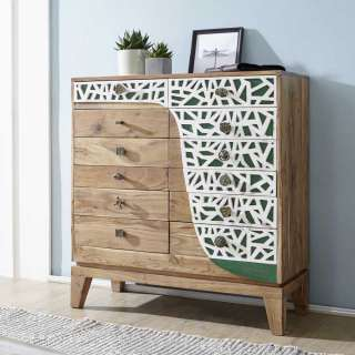 Design Schubkastenkommode in Weiß und Grün verziert Akazie Massivholz