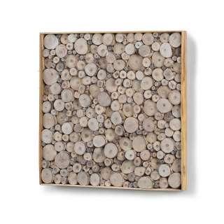 Holz Wandbild mit Teakholz Ästen Naturfarben