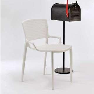 Outdoor Stuhl in Weiß aus Kunststoff stapelbar (2er Set)