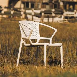 Weißer Gartenstuhl aus Kunststoff mit Armlehnen (2er Set)