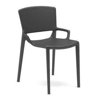 Design Gartenstuhl in Grau aus Kunststoff (2er Set)