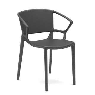 Gartenstuhl in Grau aus Kunststoff mit Armlehnen (2er Set)